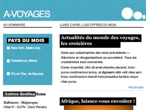 maquette email voyages
